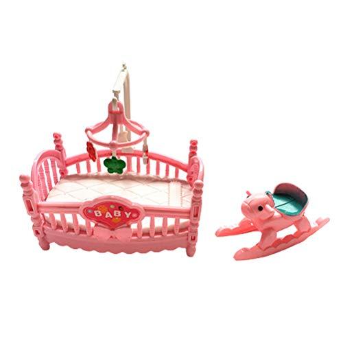 Guillala Baby Dolls Kinderbett Bett Miniatur Steckenpferd Schaukelpferd für Baby Doll Puppenhaus Dekorationen Fotografie Requisiten