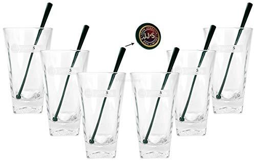 Jameson Longdrink Glas Gläser Set - 6X Longdrinkgläser 2/4cl geeicht + 6X Stirrer in grün