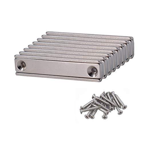 8 Stück Magnetpro 30 kg Kraft Starke Neodym-Rechteckmagnete 60 x 13,5 x 5 mm mit Senkloch, Haushalt und Industrielle Neodym Rechteck Magnete mit Befestigungsschrauben