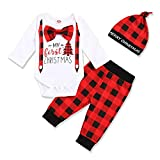 My First Christmas Baby Boy Outfits Toddler Gentleman Bow Tie Romper + Plaid Pant 3PCS Clothes Set (Red, 12-18 Months)