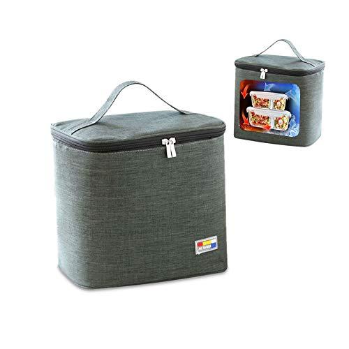 Bolsa Bolsas Térmicas Almuerzo,Bolsa Nevera Playa Portatil ,Bolsa Isotermica Camping,Bolsa Refrigeradora Pequeña,Bolsa Comida Térmica. (C3-14-Gris oscuro)