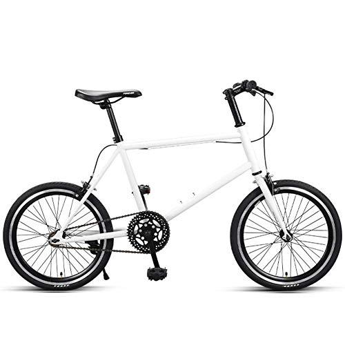 DJYD Frauen Rennrad, Quick Release Kleiner Rahmen High-Carbon Stahl-Straßen-Fahrrad, Single Speed Ultra-Light Stadt-Pendler-Fahrrad, Schwarz FDWFN (Color : White)