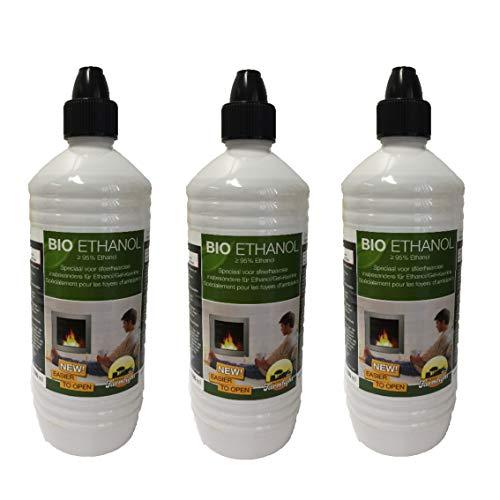 3x 1 Liter Flaschen Ethanol Gelkamine Ethanolkamine Wandkamine Gel Bioethanol