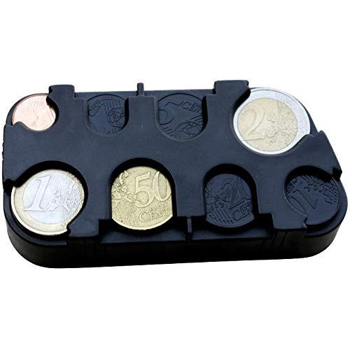 marion10020 Euro-Münzsammler Münzenhalter Geld-Sortierer Münzbox Münzen-Sammler Kleingeldspender, mit Schnell-Fixierung, schwarz