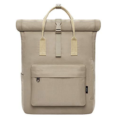 KALIDI Roll Top backpack Zaino Nero Donna e Uomo - Zaino di Alta Qualità con Parte Superiore Pieghevole - Borsa Quotidiana 18-22 Litri - Idrorepellente, Flessibile (khaki)