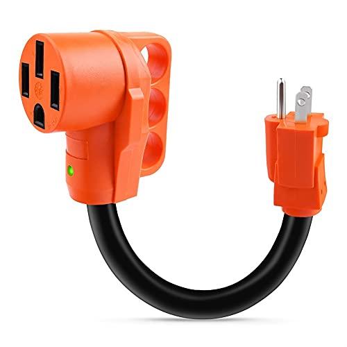 Útil 15 AMP Macho a 50 AMP Female RV Cable de Enchufe Adaptador de Enchufe Trailer de Trabajo Pesado Adaptador de alimentación eléctrica con indicador LED Piezas pequeñas prácticas