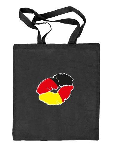 Shirtstreet24, EM/WM 12 - Kussmund Deutschland, Fußball Natur Stoffbeutel Jute Tasche (ONE SIZE), Größe: onesize,schwarz natur