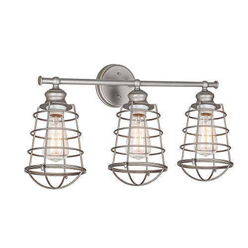 Design House 519728 Ajax 3 Light Vanity Light, Galvanized Steel Finish