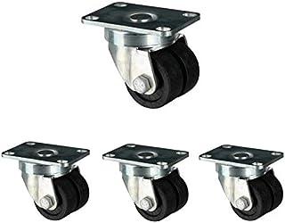 LYQQQQ Casters 4 stuks, Ø 50 mm dubbele wielen Heavy Duty houdt 720 kg sterk, glad en kuiten, vloerbescherming, vervanging...