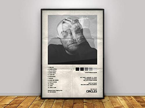 Mac Miller - Circles - Tracklist Album Cover - Poster Print Wall Art for Home Decor - Multi Size (No Frame Board)