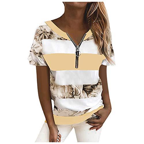 Yowablo T-Shirt Damen Sommer Oberteile Kurzarm Tee Tops T-Shirt Bluse Pullover Frauen gestreifte Leoparden Nähte Reißverschluss Kurzarm Tops ( L,2gelb )