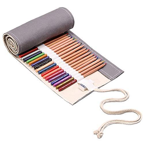 72 rollos de bolsa de lápices de colores Cortina de Lápices de Estuche Portalápices enrollable de colores Estuche Enrollable para Lápices Portalápices Bolsa Organizador lápices para Infantil Adulto