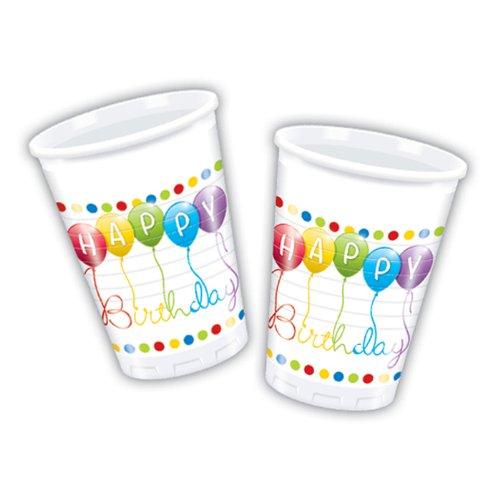 Déguisement - 8 Gobelets Happy Birthday Ballons Rainbow