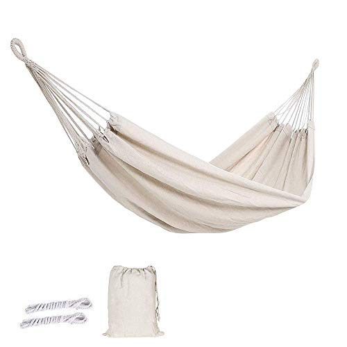 ZYEZI Double Hammock, Portable Canvas Leisure Hammock Chair, Travel Camping Beach Indoor Outdoor Hammock White