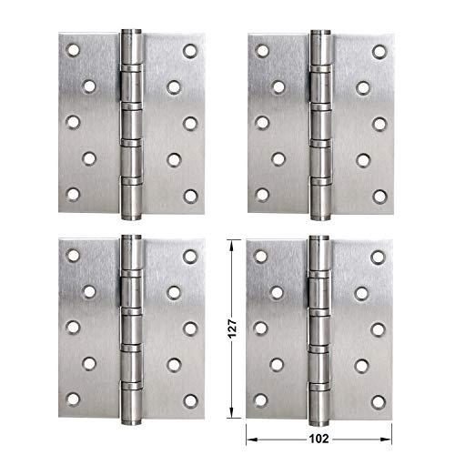 LOOTICH Bisagras de Puerta Acero Inoxidable Bisagra a Tope 127 x 102 mm para Atornillar con Rodamiento de Bolas Para Puertas de Interior sin Galce Hasta 120 kg (4 Piezas)