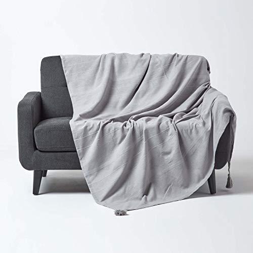 Homescapes große Tagesdecke Rajput, hellgrau, Wohndecke aus 100% Baumwolle, 225 x 255 cm, Sofaüberwurf/Couchüberwurf in RIPP-Optik