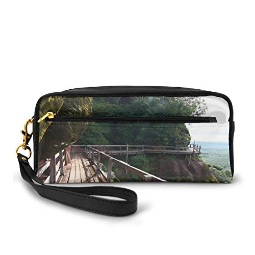 Pencil Case Pen Bag Pouch Stationary,PHU Thok Photo Wooden Ladder And Piers On Rock Mountains Into The Wild Nature,Small Makeup Bag Coin Purse