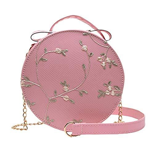 Mdsfe Bolso de Hombro para Mujer Bolso de Moda de Encaje Bolso Fresco Bolso de Mensajero Color sólido pequeño Bolso Redondo-C, a2