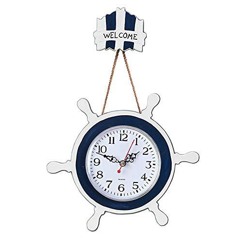 Mediterranean Nautical Wooden Ship Wheel Shape Rustic Wall Clock Decorative Silent Wall Clock Boat Ship Wheel Steering Wheel Coastal Beach Wall Decorations Ornaments