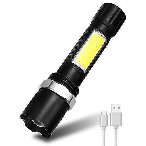Fulighture Linterna LED, recargable por USB, 600 lúmenes, con 3 modos y largo tiempo de trabajo, IPX5, resistente al agua, zoom, para exteriores, cortes de corriente, emergencias, incluye cable USB