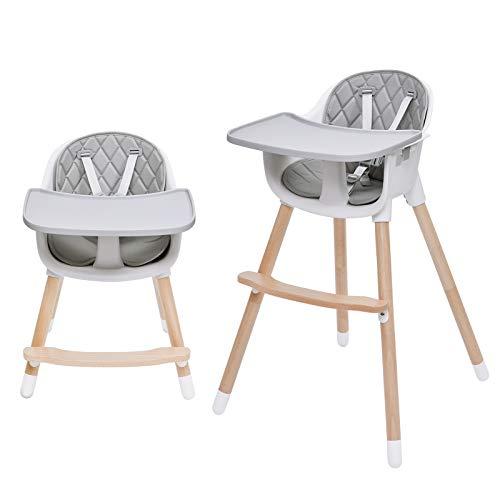 Baby Hochstuhl 2in1,Kinderhochstuhl,Mit 5-Punkt-Sicherheitsgurte, höhenverstellbar, Abnehmbares Tablett, Beine aus Holz, Rutschfeste Stuhlbeinkappen, ab 6 Monate bis 3 Jahre alt, kinder hochsitz stuhl