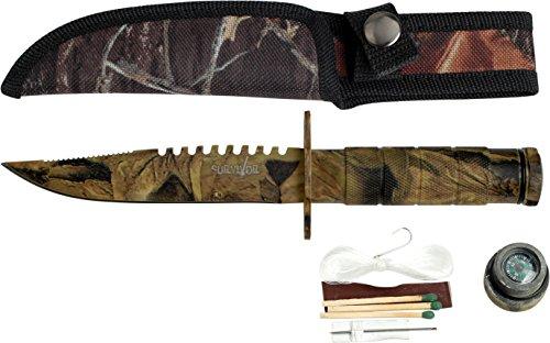 SURVIVOR Outdoormesser HK-690 Serie, Messer RIFFLE Griff, scharfes Jagdmesser, CAMO DESIGN Tactical Knife 10,8 cm ROSTFREI Teilgezahnt Feststehende Klinge, Überlebensmesser für Angeln/ Camping