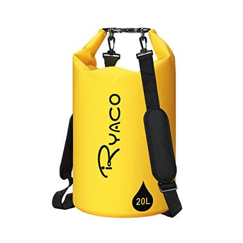 Ryaco Dry Bag 10L/20L Wasserfester Rucksack Wasserdichter Beutel Packsack mit Handytasche und Verstellbarer Schultergurt für Boot und Kajak, Angeln, Rafting, Schwimmen, Camping und Snowboarden