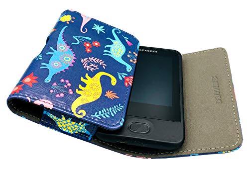 SEWAS Diabetic Care, Tasche für das DEXCOM G6, Gürteltasche Blutzuckermessgerät, Diabetikertasche, Schutzcase Blau mit Dino Motiven