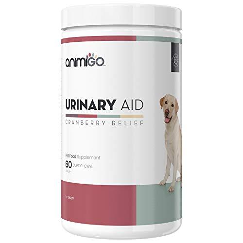 Animigo Urinary Aid Leckerlis für Hunde - Vitamine für Blase, Niere & Harnweg - Laborgeprüfte Zutaten mit Cranberry, Echinacea & Bierhefe - Multivitamin Komplex für den Hund - 60 Leckerlies