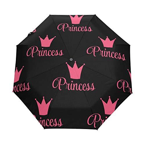 Regenschirm anpassen 3 Falten lustige Muster Princess Crown Windproof Auto Open schließen leichtes Anti-UV