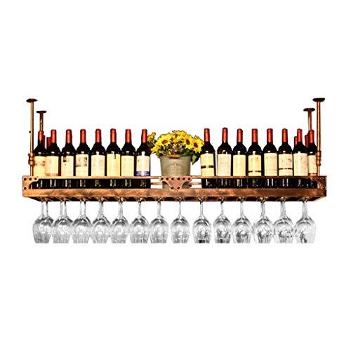 LYLSXY Estante de Vino, Estanterías de Vino Altura Ajustable, Montaje en Techo Top para la Botella de Vino Metal Hierro de Vino Copa de Vino Rack Coplet Stemware Racks,Bronce,100 * 35 cm