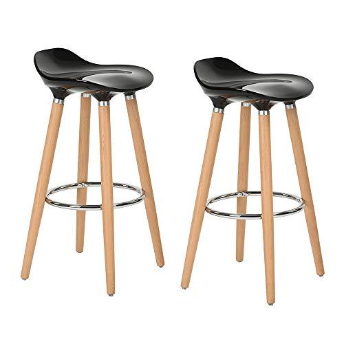Taburetes, de FurnitureR, diseño moderno, ideal para bar o cocina, con patas de madera, 2unidades, madera, negro, 2 PC