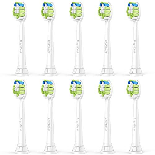 Brightdeal Testine di ricambio per Philips Sonicare -Compatibili con Philips Sonicare Sensitive,DiamondClean, FlexCare, ProtectiveClean, HealthyWhite e EasyClean HX6064 -10 Pezzi
