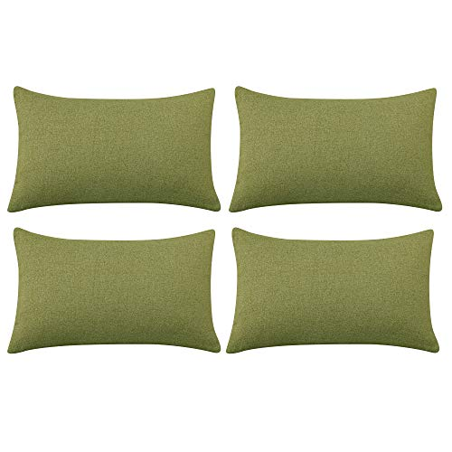Deconovo Set di 4 Copricuscini per Divano Quadrati Federe Cuscini per Camera da Letto in Lino Finto 30x50cm Verde