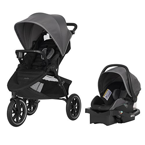 Evenflo Folio3 Stroll & Jog Travel System w/LiteMax 35 Infant Car Seat, Crossover Versatility,...