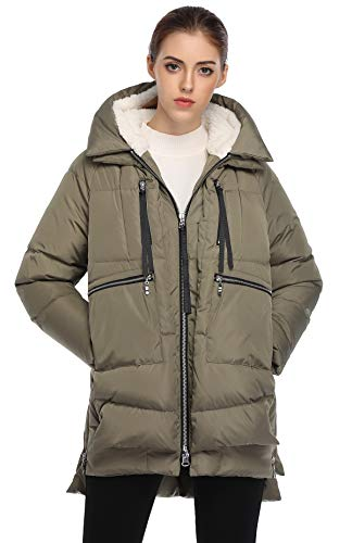 FADSHOW Women's Winter Thickened Down Jackets Long Down Coats Warm Parka with Hood,Mung Bean,S