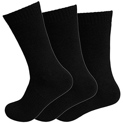 Dealzone 12 Paar Damen Thermo Socken   schwarze warme Frauen Strümpfe 39-42
