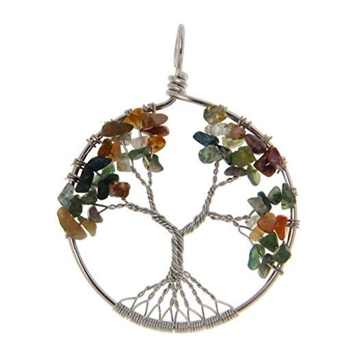 #N/A/a para Collar Encanto Cuentas de Piedras Preciosas Naturales Círculo árbol de La Vida - #9