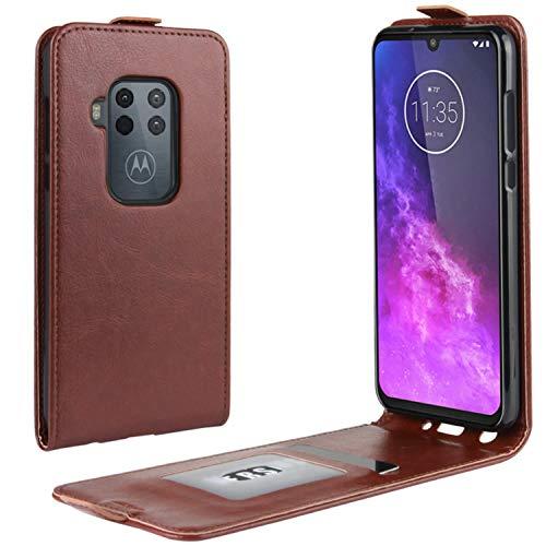 HualuBro Motorola One Zoom Hülle, Premium PU Leder Brieftasche Schutzhülle HandyHülle [Magnetic Closure] Handytasche Flip Hülle Cover für Motorola Moto One Zoom Tasche (Braun)