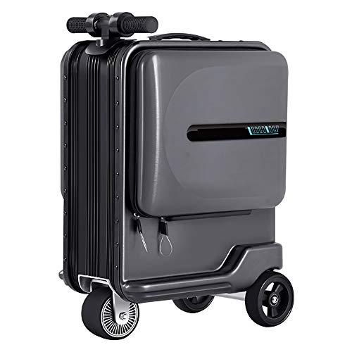 WOTR Smart-Koffer, 20in PC + ABS Handgepäck Reise-Koffer-Built-in TSA-Schloss und Silent Spinner Räder Smart Riding Trolley Fall (Jugend Ausgabe),Schwarz