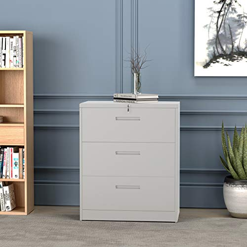 Lockable File Cabinet with 3 Drawers, Metal Filing Cabinet with Keys, Modern Lateral File Cabinet for Home Office, Easy to Assemble (White)