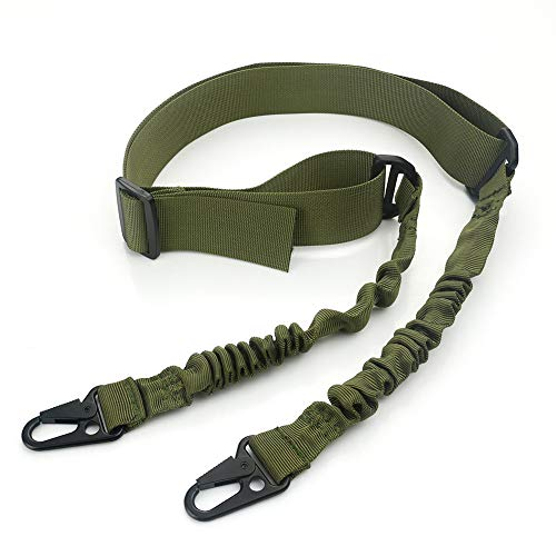 Feyachi 2 Point Rifle Sling/Gun Sling Adjustable Shoulder Strap with Metal Hook (Army Green)