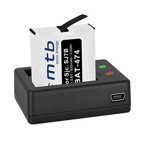 Batería + Cargador Doble (USB) para cámara Deportiva SJCAM SJ7 Star 4K NATIV WiFi (Black/Silver/Rose Edition), SJ7000 Star Actioncam - Contiene Cable Micro USB
