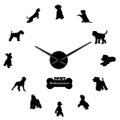 YQMJLF Reloj Pared DIY 3D Grande Razas de Perros Schnauzer DIY Reloj de Pared Grande Efecto de Espejo Decoración de habitación Reloj de Pared Pegatinas Decorativas para PerrosNegro