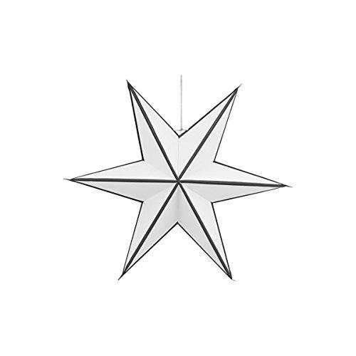 House Doctor - Stern, Weihnachtsstern, Papierstern - Stroke - 6 Zacken - weiß/schwarz - Ø45 cm