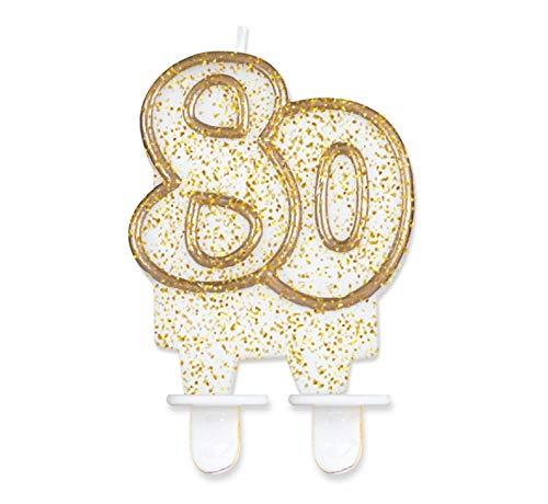 Glitzer Zahlenkerze für Geburtstag Hochzeit Events Jubiläum Torte Cupcake Muffins & Kuchen (80. Geburtstag)