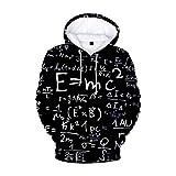 Sweats à Capuche Imprimé 3D Hoodie, Morbuy Unisexe Manches Longues Homme Femme Vêtements Pullover Sweat-Shirts Automne et Hiver Tops (L,E = mc2)