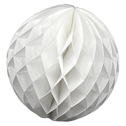 Simplydeko Wabenball 3er Set | Deko Wabenbälle aus Seidenpapier | Papierlampion | Papierkugeln | Honeycomb Lampions aus Wabenpapier | Weiß | 10 cm | 3 Stück