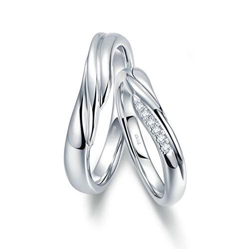 AnazoZ Anillos 1 Par Anillo de Compromiso Parejas Oro Blanco 18K Anillos Redondo Ondulado Diamante Blanco 0.03ct Plata Talla Mujer 6,75 & Hombre 15