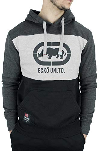 Ecko Herren Designer Langärmlig mit Kapuze Kapuzenpulli, Schwarz Blau Grau - Dunkelgrau/Schwarz, XL